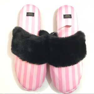 Victorias Secret Pink Black Furry Satin Slippers